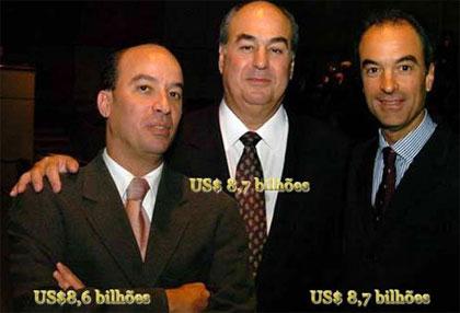 Os Irmãos Marinho e suas respectivas fortunas no final do ano passado, hoje, é claro estão muito mais ricos