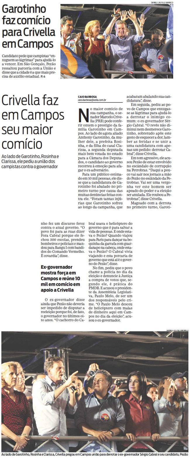 Reprodução do jornal O Dia