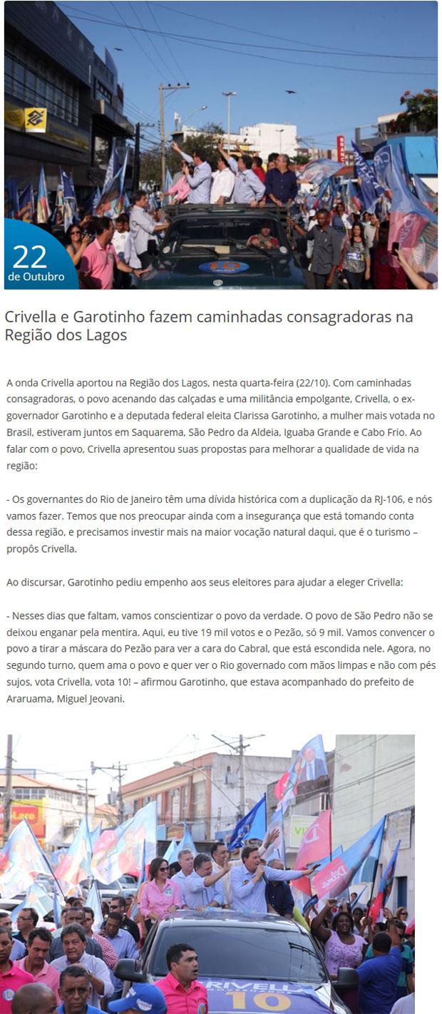 Reprodução do site Crivella 10