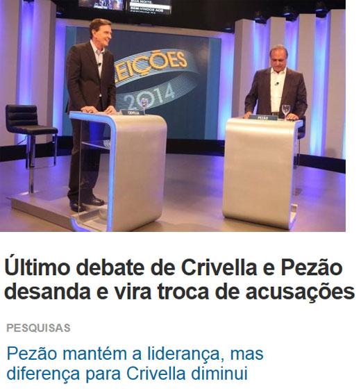 Crivella e Pezão no debate; abaixo manchetes de O Dia online