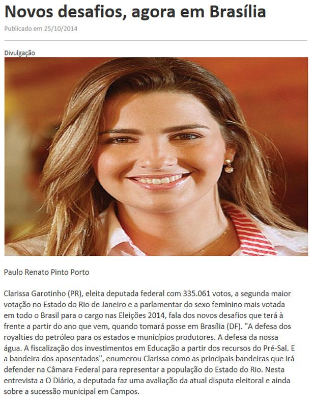 Reprodução do site do jornal O Diário, de Campos
