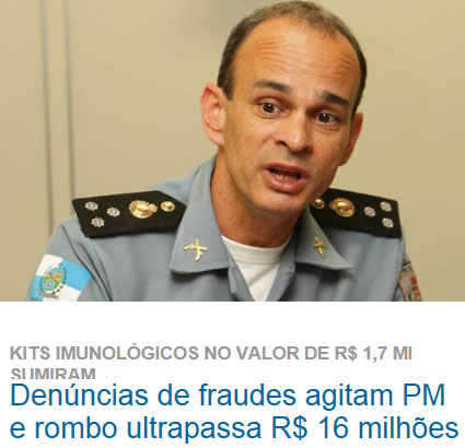 Comandante da PM, coronel Castro Menezes; abaixo manchete de O Dia online