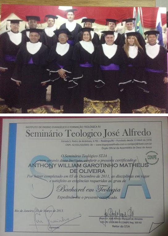 A turma de Garotinho; abaixo o certificado de conclusão do curso, que foi enviado para o MEC junto com o histórico