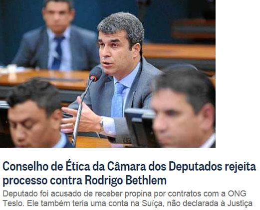 Rodrigo Bethlem; abaixo manchete do Globo online