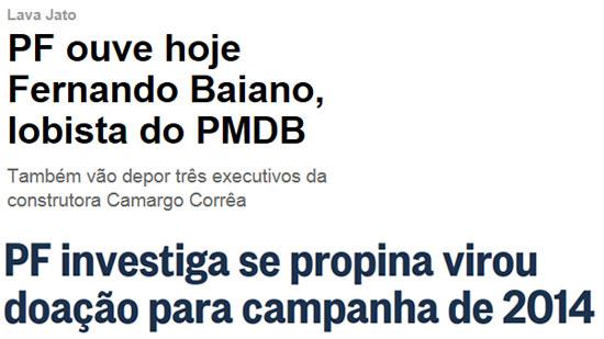 Reprodução da Veja online e do Globo online