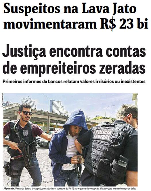 Reproduções da Folha de S. Paulo e do Globo online
