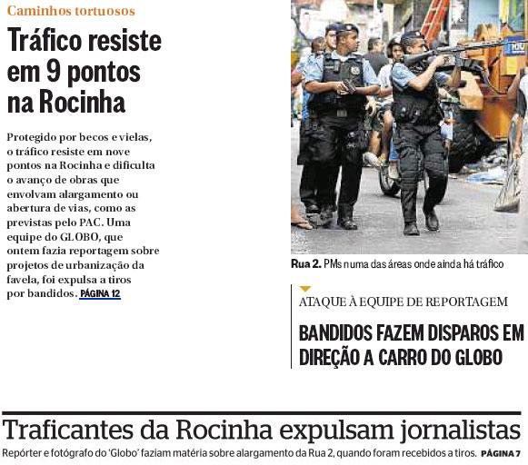 Reproduções dos jornais O Globo e Extra