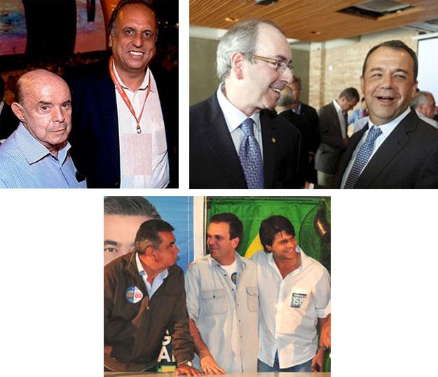 Dornelles e Pezão; Cabral e Eduardo Cunha; Picciani, Eduardo Paes e Pedro Paulo