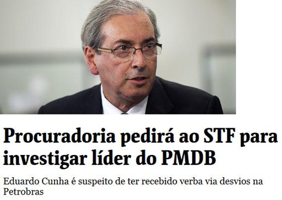 Eduardo Cunha; abaixo manchete da Folha de S. Paulo online
