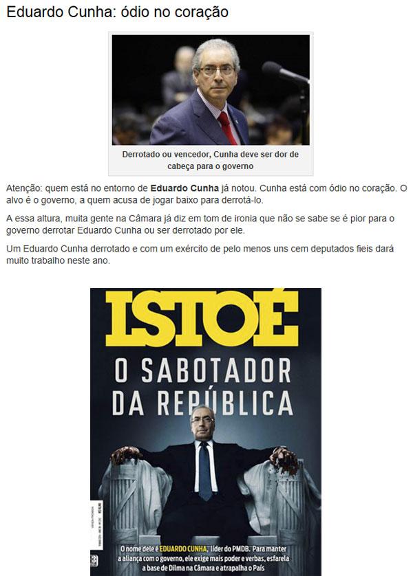 Reprodução do Radar online, da Veja; abaixo capa da revista IstoÉ (março de 2014)