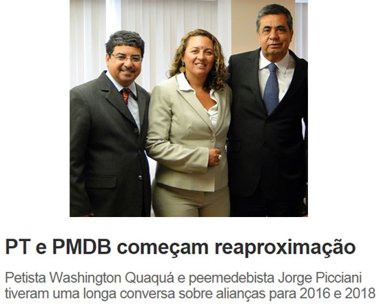 No alto Quaquá (presidente do PT - RJ), sua esposa a deputada eleita Zeidan (PT) e Jorge Picciani; abaixo manchete do Informe do Dia