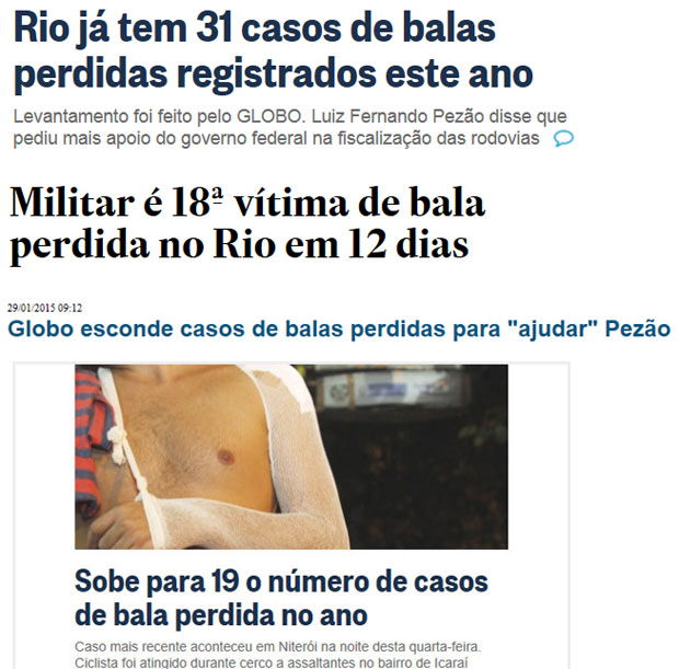 Reproduções do Globo online, Estadão online e do Blog do Garotinho
