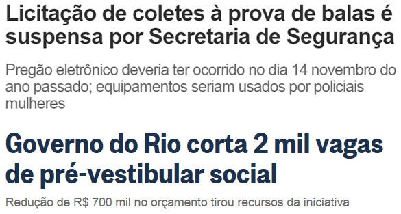 Manchetes de O Dia online e do Globo online