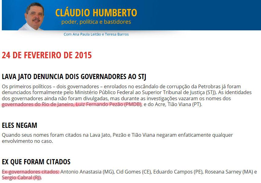 Reprodução da coluna de Cláudio Humberto (CLIQUE NA IMAGEM PARA AMPLIAR)