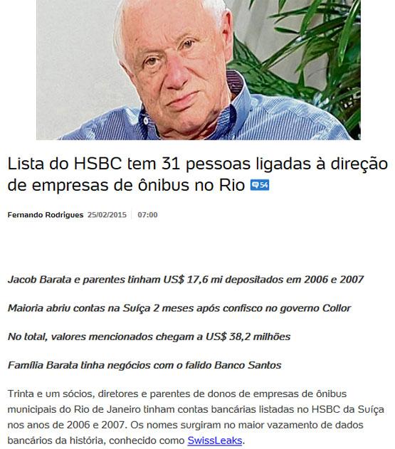 """Jacob Barata, o """"Rei dos Ônibus""""; abaixo reprodução do blog de Fernando Rodrigues, do UOL"""
