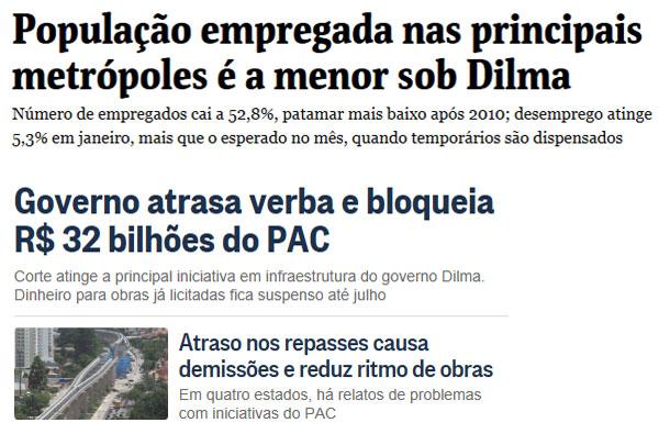 Manchetes da Folha de S. Paulo online e do Globo online
