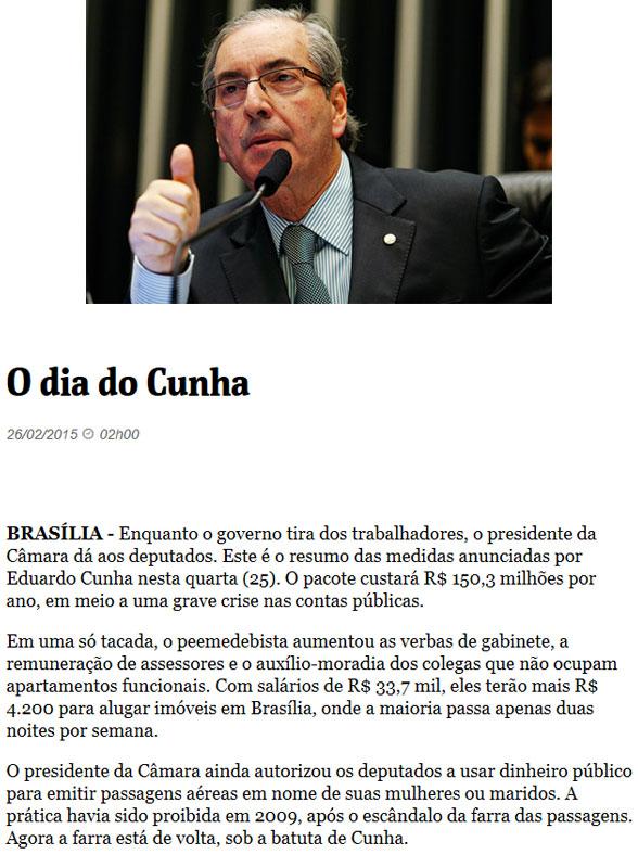 Eduardo Cunha; abaixo reprodução da Folha de S. Paulo online