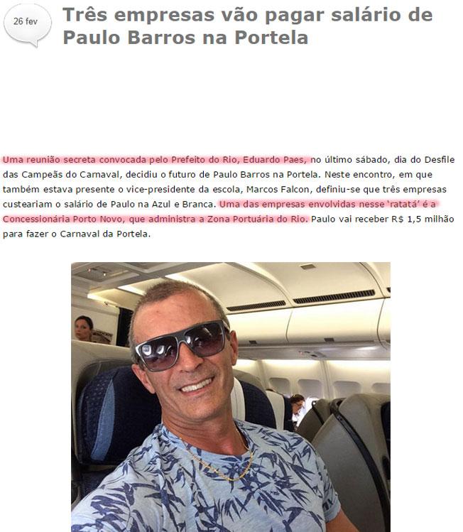 Reprodução da coluna de Leo Dias, do jornal O Dia