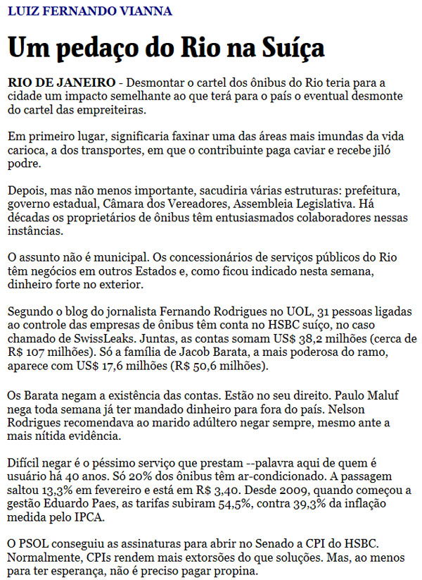 Reprodução da coluna de Luiz Fernando Vianna, da Folha de S. Paulo