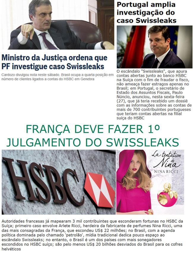 Reproduções do Globo online e do Brasil 247