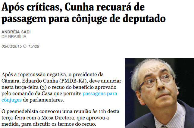 Reprodução da Folha de S. Paulo online; ao lado, Eduardo Cunha