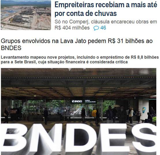 Reproduções do Globo online e da Veja online