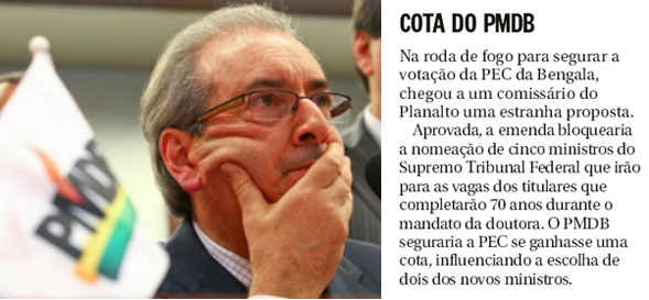 Eduardo Cunha; ao lado nota da coluna de Elio Gaspari
