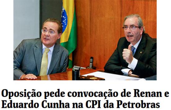 Renan Calheiros e Eduardo Cunha; abaixo reprodução da Folha de S. Paulo online