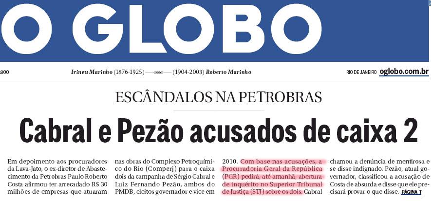 Reprodução da capa do jornal O Globo