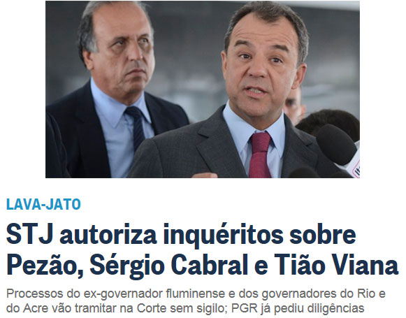 Pezão e Cabral; abaixo manchete do Globo online