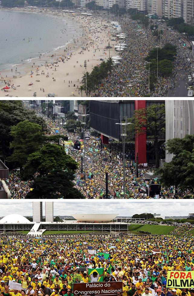 Manifestações no Rio, São Paulo e Brasília (Fotos do Globo e da Veja)
