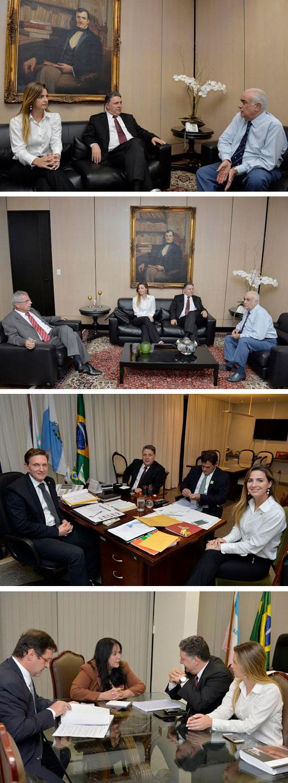 Garotinho com o ministro dos Transportes, acompanhado de Clarissa Garotinho e Paulo Feijó; com os senadores Marcelo Crivella e Rose de Freitas (PMDB - ES). (Fotos de Cadu Gomes)
