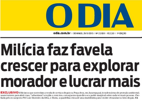 Reprodução da capa do jornal O Dia