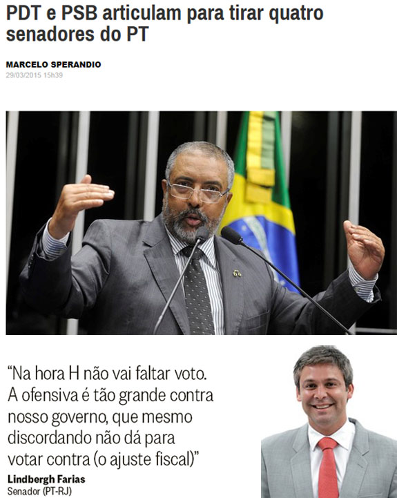 Reprodução da Época online; abaixo reprodução da coluna Panorama Político, do Globo e ao lado, Lindbergh Farias