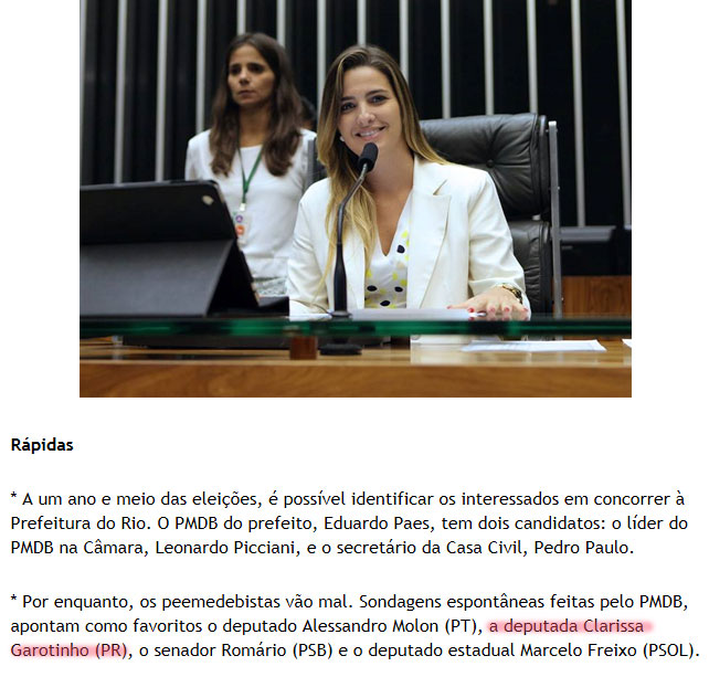 Clarissa Garotinho; abaixo nota da coluna Brasil Confidencial, da revista IstoÉ
