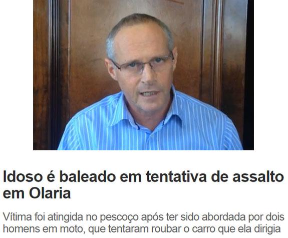 Beltrame no vídeo gravado sobre o médico morto na Lagoa; abaixo manchete de O DIa online
