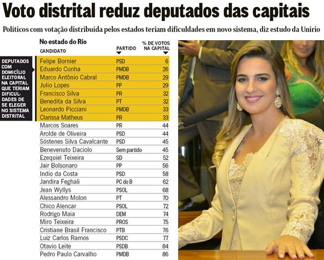 Reprodução do jornal O Globo; ao lado, Clarissa Garotinho