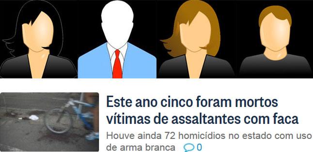 Quatro vítimas sem rosto; abaixo, manchete do Globo online