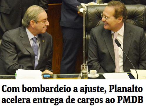 Eduardo Cunha e Renan Calheiros; abaixo, manchete da Folha de S. Paulo online