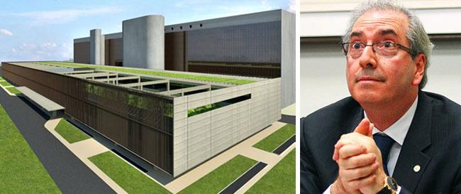 Maquete virtual do shopping que Cunha quer construir; ao lado, Eduardo Cunha