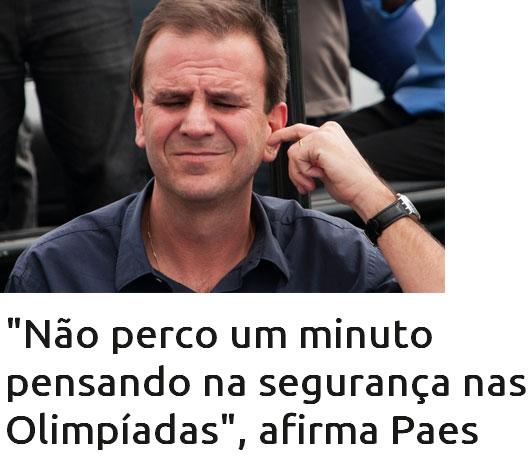 Eduardo Paes; abaixo manchete do UOL