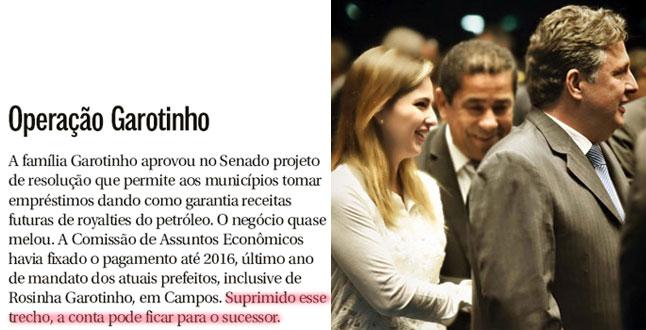 Reprodução da coluna Panorama Político, do Globo; ao lado, Garotinho e Clarissa no plenário do Senado, na sessão que aprovou a salvação dos municípios e estados produtores de petróleo