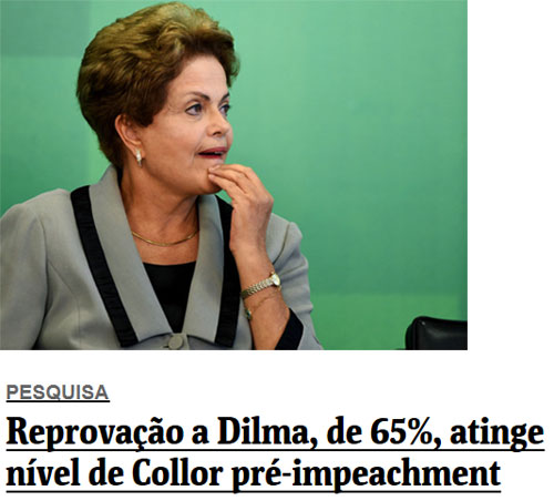 Presidente Dilma; abaixo, reprodução da Folha de S. Paulo online