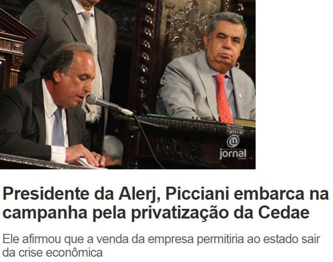 Pezão e Jorge Picciani; abaixo, reprodução do Informe do Dia