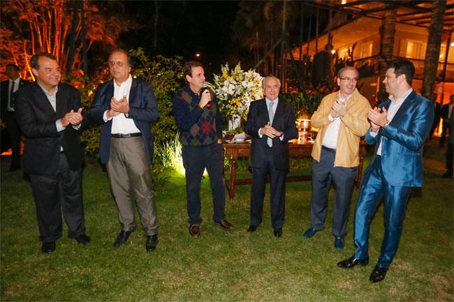 Jantar de Paes para o PMDB (Cabral, Pezão, Paes, Temer, Cunha e Leonardo Picciani)