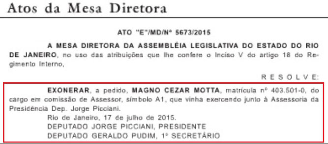 Reprodução do Diário Oficial