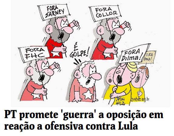 Charge de Sponhloz´; abaixo, manchete da Folha de S. Paulo online