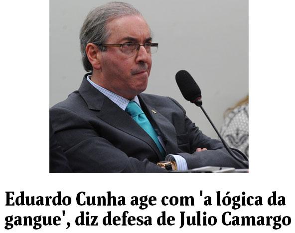 Eduardo Cunha; abaixo, manchete da Folha de S. Paulo online
