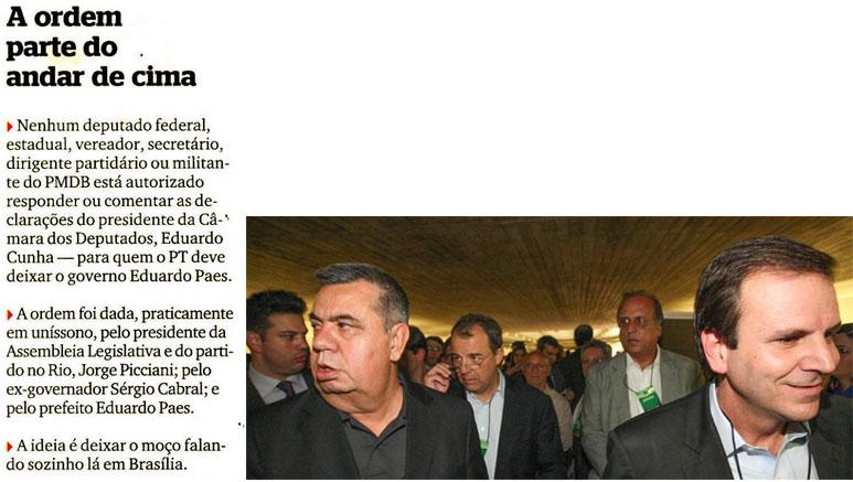 Nota da coluna Extra, Extra!; ao lado, Picciani, Cabral, Pezão e Paes