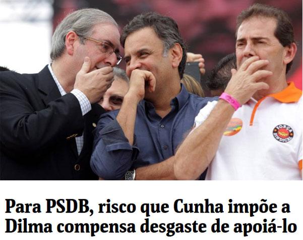 Cunha e Aécio cochicham ao lado de Paulinho da Força Sindical (SDD) no evento do 1º de Maio; abaixo manchete da Folha de S. Paulo